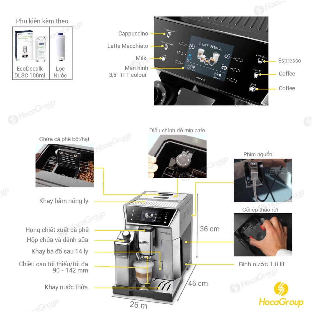 thông tin chi tiết Máy pha cà phê tự động Delonghi Ecam 556.55