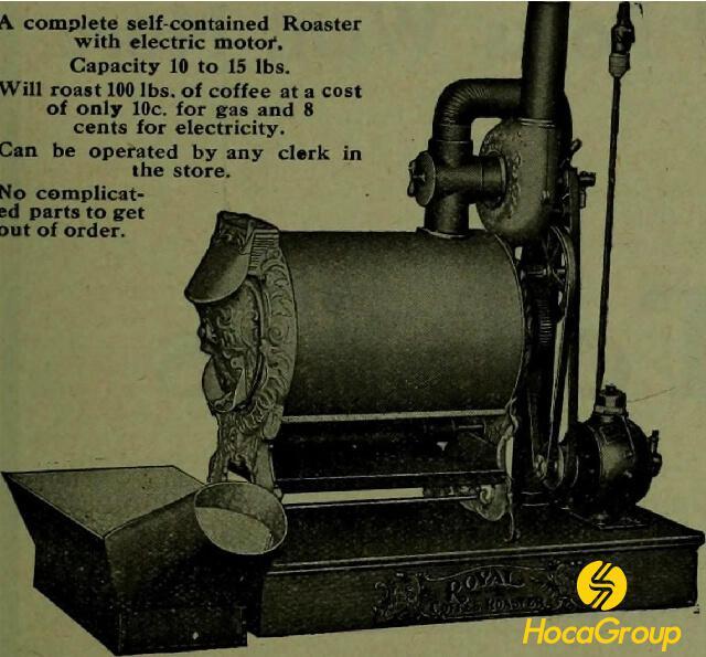 Một quảng cáo năm 1910 cho một máy rang cà phê động cơ điện.